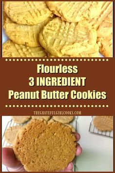 Easy, easy, easy... and DELICIOUS is the best way to describe these amazing flourless, peanut butter cookies with only 3 (count 'em - 3) ingredients! via @gratefuljb