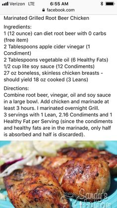Lean Protein Meals, Lean Meals, Healthy Grilling, Grilling Recipes, Cooking Recipes, Medifast Recipes, Healthy Recipes, Root Beer Chicken, Weight Watchers Snacks