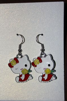 Hello Kitty Earrings by TheStitchingNitch on Etsy, $5.00