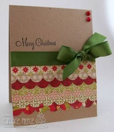 Hi there! This is my first card for the June Christmas Card Challenge! For more info, see my blog post here - http://creativelycandace.blogspot.com/2012/06/ccc27-merry-christmas.html. Thanks for looking!   Candace  Supplies: Cardstock: Kraft (PTI) Patterned Paper: Seasons Greetings by Echo Park Stamps: Sparkle and Cheer by Taylored Expressions Ink: Memento Tuxedo Black Embellishments: PTI ribbon, Kaisercraft pearls Tools: MFT Simply Scallops Border Dienamic