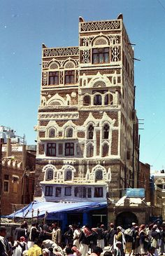 Sana'a, Old City Market & Building, Yemen, by David, via Flickr. One of the most popular attractions is Suq al-Milh (Salt Market), where it is possible to buy salt along with bread, spices, raisins, cotton, copper, pottery, silverware, and antiques.
