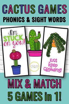 "If you love cactus and succulents themes, you will adore this phonics game set! There are five mix and match games: CVC words, CVCe words, sight words, alphabet, and phonics ""hunks and chunks."" Simply print, cut, and PLAY! #phonicsgames #cactus"