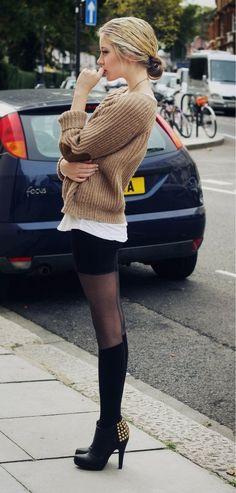 beige sweater // white shirt // black mini // sheer black tights // black thigh-highs // spike booties