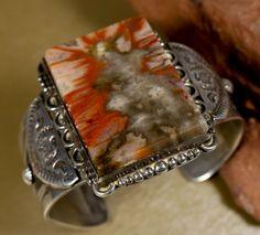 Old Pawn Trading Post VINTAGE Navajo FRED HARVEY ERA Petrified Wood Bracelet #FredHarvey
