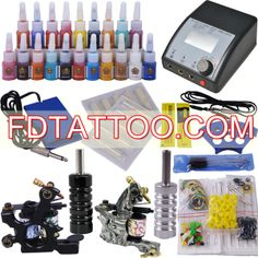 TOP Tattoo Kit 2 Gun Power Supply 20 Inks Needle Tip   Wholesale Price:US $40.82 Professional Tattoo Kits, Tattoo Equipment, Tattoo Needles, Top Tattoos, Tattoo Supplies, Tattoo Machine, Tattoo Artists, Gun, Firearms