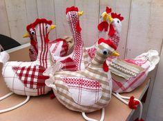 Création couture artisanale de jolie cocotte de couleur rouge est blanc en tissu pour les enfants. : Jeux, jouets par nltendancedeco