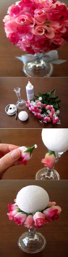 This DIY flower ball bouquet is a simple craft that will liven up your home.
