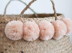 Blush Pompom Baskets - Belly Basket