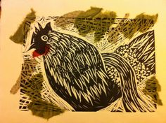 Rooster lino print