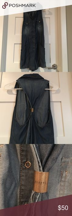 Diesel Denim Romper Cute denim shorts romper with brass buttons and back detail. Comfortable and cute with boots for the fall transition. Great condition! Diesel Pants Jumpsuits & Rompers