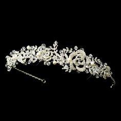 Romantic Freshwater Pearl and Crystal Floral Wedding Headband- Affordable Elegance Bridal -