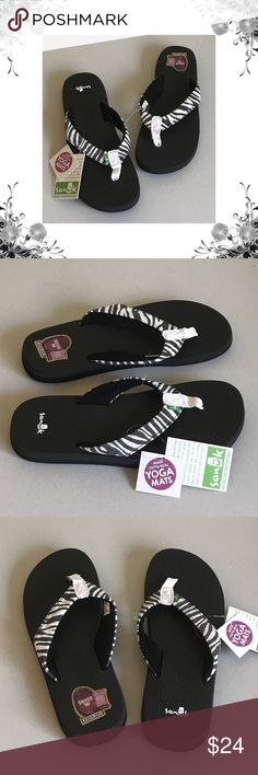 b728304b8788  Sanuk  Yoga Wildlife Zebra Print Flip Flops Manufacturer Color is Zebra.  Heel Height