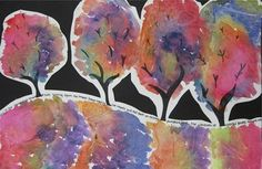 """""""6th Gr. Fall Trees"""" from dec 2011, This cool crinkly texture was created by placing plastic wrap over the paint while it was still very wet. Students also added some writing about fall on their ground line. It may have gotten a little cropped out, but each one starts out with, """"Fall is..."""