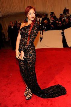"Rihanna in Stella McCartney at the Met Gala in The theme, honoring Alexander McQueen was ""Savage Beauty"" and Rihanna definitely fit the bill. Rihanna Mode, Rihanna Style, Rihanna Fenty, Saint Michael, Aaliyah, Madonna, Sparkly Jumpsuit, Alexander Mcqueen Savage Beauty, Rihanna Looks"