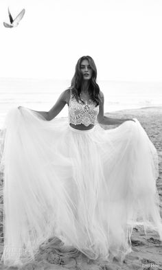 LIHI HOD #bridal 2016 venus beach #wedding dress romantic two piece embellished sleeveless crop top full tulle skirt zoom