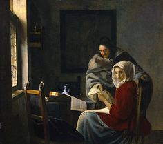 """""""Girl interrupted at her music"""" (c. 1658 - By Johannes Vermeer, from Delft, Netherlands - - oil on canvas ; 15 x 17 in - [Baroque] © The Frick Collection, New York Johannes Vermeer, Girl Interrupted, Renoir, Rembrandt, Vermeer Paintings, List Of Paintings, Portrait, Renaissance, Baroque Painting"""