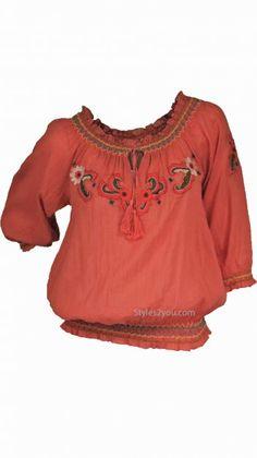 Joy Joy Clothing Annika Peasant Blouse In Rust