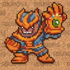 Thanos and the Infinity Gauntlet perler beads by genjiworks
