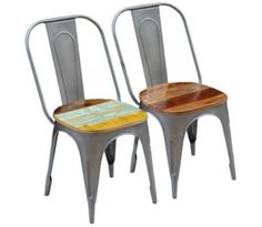 Colours vary from piece to piece (delivey is random) Industrial Style Handmade Material: Solid reclaimed wood + steel frame Dimensions: x x cm (W x D x H) Seat: width: cm, depth: cm, height from the ground: cm EAN: 793931960719 Panton Chair, Vintage Industrial, Industrial Style, Industrial Dining Chairs, Wood Steel, Dining Chair Set, Steel Frame, Teak, Colours