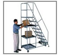 """Series 5000 all welded steel stock picking safety ladders offer the advantages of a rugged one-piece welded ladder with the versatility of a stock picking truck. Available in six (6) different heights, each unit has two (6-7 step) or three (8-11 step) 24""""x24"""" heavy gauge steel shelves plus a 24""""Wx20""""D platform with 10"""" folding platform work shelf. They are fabricated from heavy duty 1"""" O.D. tubular steel and have a combined 500 lb. load rating consisting of 300 lbs."""