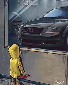 Custom illustration AUDI TT Owner @your_average_tt Toy in hand Porsche 964 . . . . #audi #auditt #ttroadster #audiblack #audi8n #customillustration #andrewmytro #illustration #poster