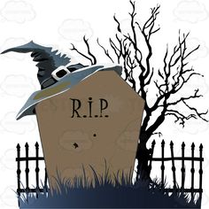 Night Time Halloween Scene - A Leafless Black Tree Stands By A Wrought Iron Cemetery Gate With An Old Fashioned Grave Stone RIP, With A Pointed Witch's Hat On It #autumn #black #candy #celebration #cemetery #costume #creature #fall #fright #grave #halloween #haunted #headstones #holiday #midnight #monster #night #october #PDF #pumpkin #scare #spooky #tree #trickortreat #undead #vectorgraphics #vectors #vectortoons #vectortoons.com #witch