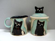 Black Cat Cream And Sugar, Sea Foam Aqua Green, Cat And Rat, Serving, Animal Pottery, Cat Pottery, Kitty Pottery