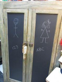 chalkboard paint on wardrobe