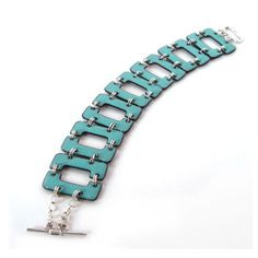 enamel jewelry - repetition of simple geometric shapes with flat aqua coloring, cold connected with jump rings