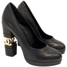 Chanel Black Escarpin CC Platform Heels | From a collection of rare vintage shoes at https://www.1stdibs.com/fashion/accessories/shoes/