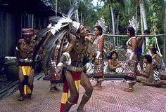 The Iban did welcome dance at Iban Longhouse Sarawak, Malaysia in 1979
