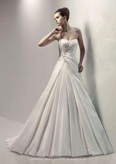 A-line Sweetheart Ruched Bodice Beaded Taffeta Wedding Dress-wa0080, $272.95