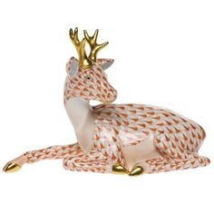 Herend Hand Painted Porcelain Figurine of Young Buck Lying Down, Rust Fishnet w Gold Accents.