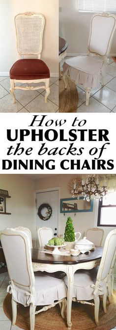 How to upholster the back of a dining chair using batting, drop cloth an gimp trim. Great solution to damaged cane back chairs.