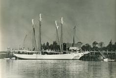 This is a photo from 1964 showing the schooners Mary Day and Shenandoah alongside each other at the Harvey Gamage Shipyard in South Bristol, Maine. Mary Day was the first commercial schooner launched in the second half of the 20th century. Launched in 1962 as a passenger vessel in the Maine windjammer fleet Mary Day was followed by Shenandoah, a replica of a revenue cutter built as a commercial passenger vessel for Robert Douglas of Vineyard Haven, MA and launched in 1964.