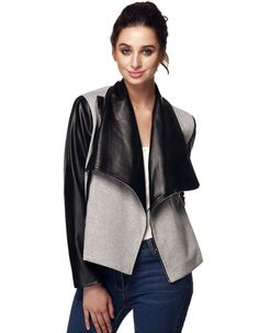 Finejo Fashion Women Wide Lapel Long Sleeve Contrast Color Slim Side Zip Jacket Coat Outwear
