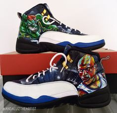 Andaluz the Artist custom painted Space Jam Jordans, awesome!!!!  #space #jam #jordans #michael #jordan #galaxy #custom #painted  #andaluztheartist #creative #sneakers #modification