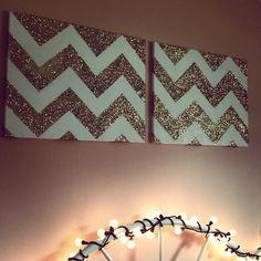 Glittery chevron wall hangings