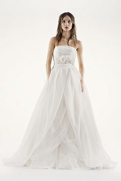 White by Vera Wang Organza Gown with Draped Bodice and Tulle Skirt Style VW351178 $928 Spring 2014