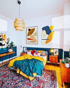 Room Ideas Bedroom, Home Decor Bedroom, 70s Bedroom, Green Bedroom Decor, Bedroom Artwork, Yellow Home Decor, Bedroom With Green Walls, Eclectic Bedroom Decor, Industrial Bedroom Decor