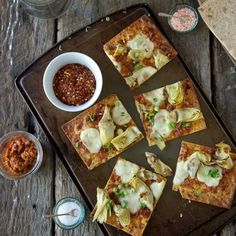 Lavash Pizza with Artichokes and Sun-Dried Tomatoes: for satisfying a pizza craving in a hurry or for last-minute company.