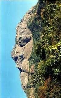 Face seen on the Girnar Hill Mountain in Gujarat, India.