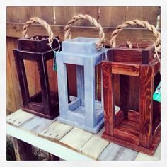 Portavelas rústico farol de madera reciclada. Decoración para
