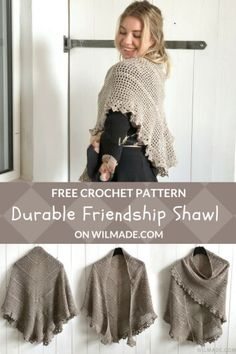 Durable Friendship Shawl - free crochet shawl pattern by Wilmade - - Looking for a free crochet shawl pattern? Check out this beginner-friendly design! The free pattern comes with a helpful video tutorial. Poncho Crochet, Crochet Shawls And Wraps, Knitted Shawls, Crochet Scarves, Crochet Clothes, Free Crochet, Crochet Hats, Crochet Shirt, Crochet Designs
