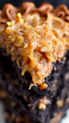 The Best German Chocolate Cake in All the Land Recipe ~ Rich, brownie-like cake, gooey German chocolate frosting and fudgy milk chocolate frosting... it's delicious!