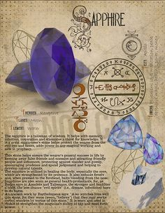 // Sapphire, Book of Shadows printable page. Wiccan Spells, Magick, Witchcraft, Pagan, Crystals And Gemstones, Stones And Crystals, Alchemy, Magic Herbs, Crystal Magic