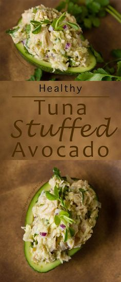 This Guacamole and Tuna Stuffed Avocado is super easy to make. And it contains no mayo, so there's no guilt - it's just the simple healthy goodness of Fresh tasting Albacore tuna and guacamole stuffed inside a pretty avocado.