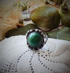 Vintage .925 Sterling Silver Green Turquoise Ring by bijoullery