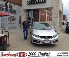 https://flic.kr/p/Ha5yu5 | Happy Anniversary to Alyson on your #Honda #Civic Sdn from Gary Giyette Jr at Southwest KIA Rockwall! | deliverymaxx.com/DealerReviews.aspx?DealerCode=TYEE