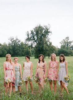 Casual wedding party. I like the different prints on the dresses. I'm in love with this idea.